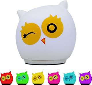 Bright Tykes LED Owl Night Light for Kids - Cute Silicone Animal with Touch Sensor - Owl Winking Design - Portable and Eas...