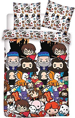 Juego de cama de Harry Potter de Harry Hedwige – Funda nórdica de 140 x 200 cm + funda de almohada de 63 x 63 cm + 1 cojín de 35 x 35 cm + 1 llavero (modelo aleatorio)