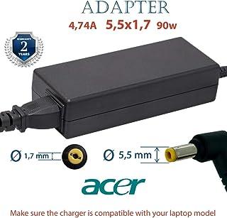 Polker Batería portatil Cargador Acer 19V 4.74 5,5x1,7 90w | Ordenador portátil Cargadores para Acer | Fuente alimentacion Adaptador | portatiles Cable alimentación Conectores
