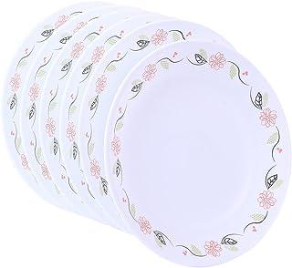 Corelle Tangerine Garden ES Glass Medium Plate Set, 21.6cm, Set of 6, White