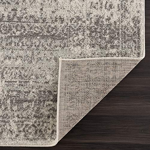 Vintage Geometric Cream Gray Area Rug - Boho Distressed 8x10 Rug for Living Room, Bedroom and Kitchen (7'10