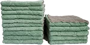15 Pack Microfiber Cleaning Cloth, Kitchen Towels Dish Towels, Highly Absorbent Multi-Purpose, 9.85 x 9.85 inch, Double-Sided Microfiber Cleaning Rags for Furniture, Car, Tea, Bowl