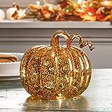 "Lights4fun, Inc. 6.5"" Amber Mercury Glass Pumpkin Battery Operated LED Fall Thanksgiving Lighted Decoration"