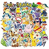 50 Pcs Vinyl Cute Lovely Trendy Waterproof Non-repetitive Graffiti Stickers Decals Pack for Pokemon Laptop Water Bottle Car Bumper Skateboard Luggage iPhone Laptop Bike Guitar,Ideal Decals for Gift.