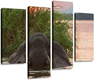 African elephant, Loxodonta Africana, swimming in the Zambezi Canvas Print Artwork Wall Art Pictures Framed Digital Print ...