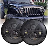 LX-LIGHT 7'' Round Black Cree LED Headlight High Low Beam Compatible with Jeep Wrangler JK TJ LJ CJ Hummber H1 H2 (Pair)