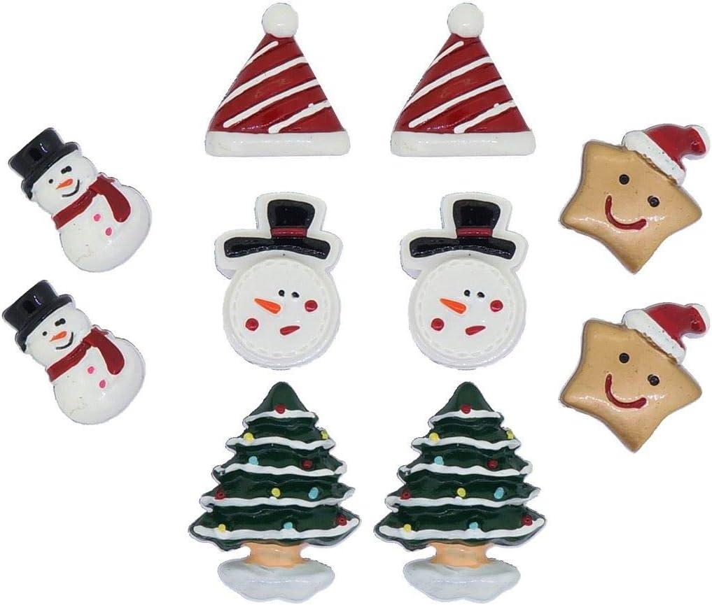 Princess-J Christmas Tree Snowman Star Santa Hat Clip on Earrings for Teen Girls Women Gift, Pack of 5