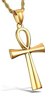Men's Stainless Steel Coptic Ankh Cross Religious Pendant Necklace, 24
