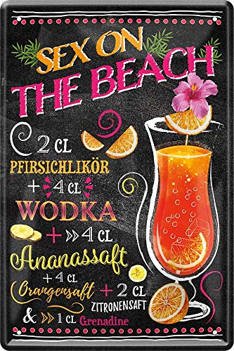 Blechschilder Sex on The Beach Cocktail Deko Alkohol Bar Theke Pub Metallschild Schild Geschenkidee Geburtstag Weihnachten 20x30 cm