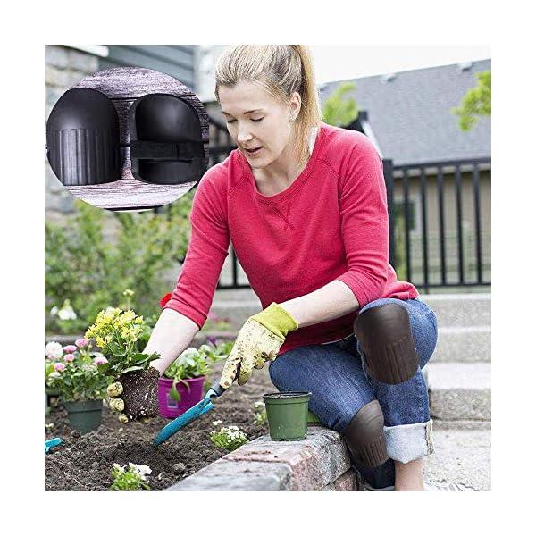 Kitchen-dream Rodilleras para Trabajar Jardinería Rodilleras con cojín Espuma EVA Forro Interior Suave Correas Ajustables Protectores de Rodillas para Deporte Trabajo al Aire Libre 1 par Negro