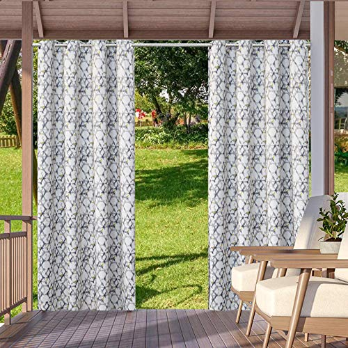 Outdoor Print Blackout Waterproof Curtain, Garden Patio Gazebo Sun Light Blocking Door Curtains Indoor Outdoor with Grommet Curtain Panels for Sliding Door, 2 Panels (Hexagon, 52*108 inch)