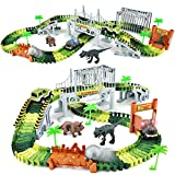 Dinosaur Toys,144pcs Create A Dinosaur World Road Race, Flexible Track Playset and 2 pcs Cool Dinosaur Race Car Kids Toys Gifts for 3 4 5 6 Year & Up Old Boy Girls