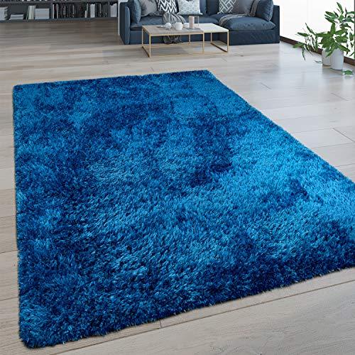 Paco Home Hochflor Wohnzimmer Teppich Waschbar Shaggy Flokati Optik Einfarbig In Blau, Grösse:160x220 cm