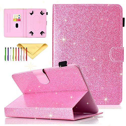 Uliking Bling Glitter Universal 9.5-10.5 Inch Tablet Case for iPad 9.7', iPad 10.2 Case 2019, Fit iPad Air 3, Pro 10.5 Inch Tablet, Cover For Samsung Galaxy Tab A 10.1 2019 SM-T510, Pink