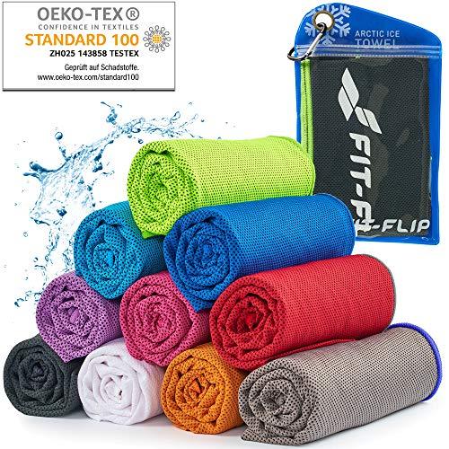 Cooling Towel für Sport & Fitness – Mikrofaser Handtuch/Kühltuch als kühlendes Handtuch für Laufen, Trekking, Reise & Yoga – Cooling Towel – Farbe: schwarz-neon grüner Rand, Größe: 100x30cm