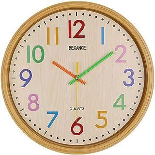 BECANOE 壁掛け時計 ウオールクロック サイレント カラフル アラビア数字 木目 シンプル 時計