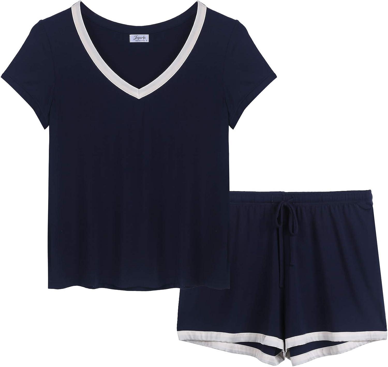Joyaria Women's Short Sleeve Pajama Sets Super Soft Pjs V Neck Sleepwear
