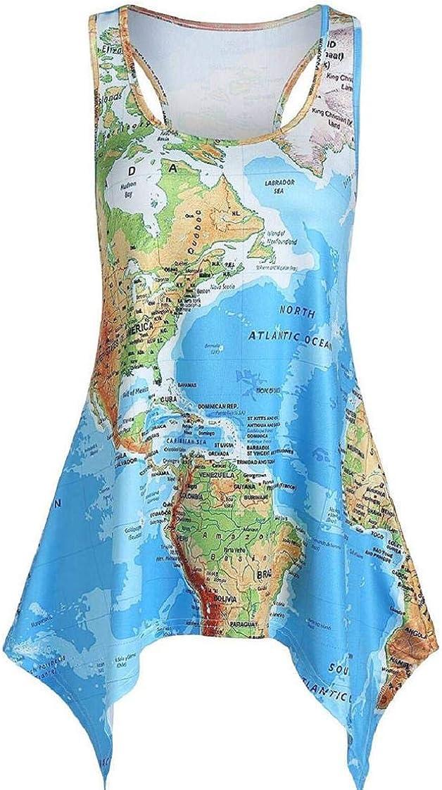 MISYAA World Map Print Tank Tops for Women Novelty Tunic Tops Sleeveless Summer Casual Tees Shirts Womens Basic Blouses