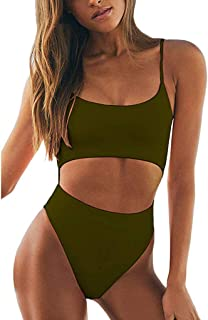 Zlolia Solid Cut Hollow Out Bikini 1 Piece for Women Camisole Strap Off Shoulder Backless High Rise Jumpsuit Swimsuit