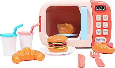 Becko Microwave Kitchen Play Set / Cute Toy Play Set with Food Accessories / Pretend Play Set for Toddlers (Pink)