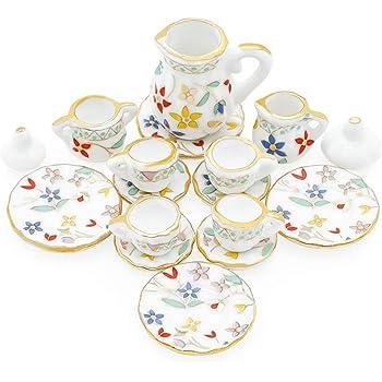 6//18 Coffee Cup Teapot Scallop Saucer Plate Dollhouse Miniature Ceramic #S 2337