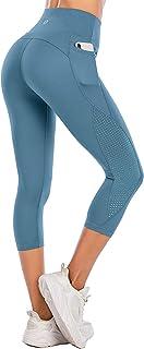 Steppe Women's High Waist Yoga Pants Capri Workout Running Leggings with Pockets- Fashional Mesh