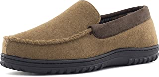 HomeTop Men's Wool Micro Suede Moccasin Slippers House Shoes Indoor/Outdoor
