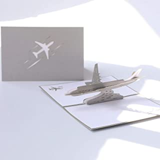 Paper Spiritz Airplane Pop up Birthday Card, 3D Graduation Anniversary Cards for Men Girls, Romantic Cards All Occasions, Thank You Love Cards, Handmade Gift Cards for Kids with Envelope