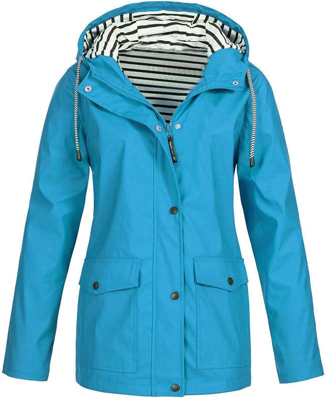 Hooded Rain Jacket Coat for Women Outdoor Plus Size Hooded Windbreaker Blouse Tops Hooded Windproof Raincoat