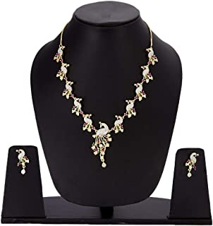 Zeneme Jewellery Set American Diamond Stylish Peacock Style Gold Plated Necklace Set Jewellery With Earring For Women & Girls