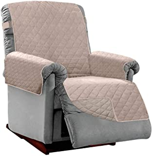 Best Sofa Shield Original Patent Pending Reversible Small Recliner Protector, Many Colors, Seat Width to 25 Inch, Furniture Slipcover, 2 Inch Strap, Reclining Chair Slip Cover Throw for Pets, Light Taupe Review