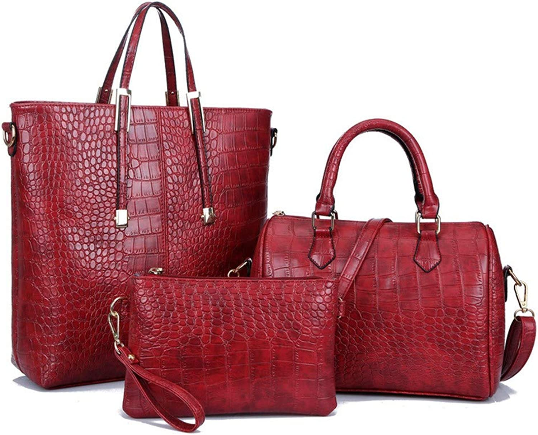 NZZNB Shiny Ladies Bag Crocodile Pattern Large-Capacity to Bag Elegant Retro Handbag Fashion Shoulder Bag Satchel Wristlets Bag 3Pcs Top-Handle Handbags