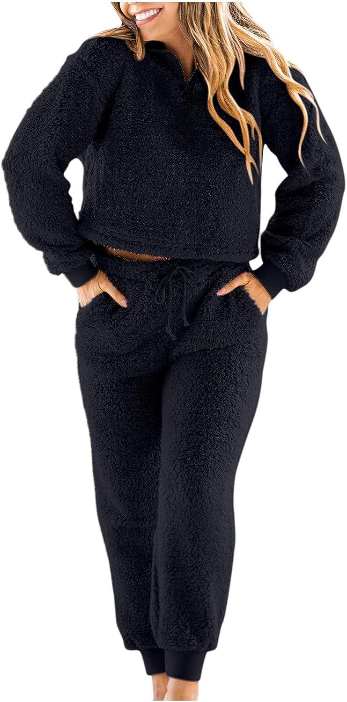 Womens Fleece Pajamas Outfits Long Sleeve Sweatsuit Pullover Hoodie Solid Color Tops Pants Sleepwear Jumpsuit Tracksuit