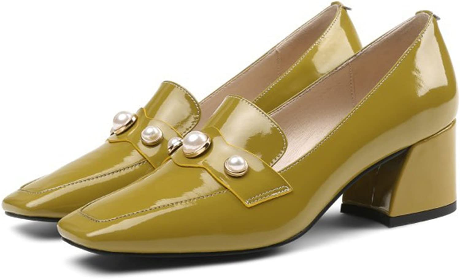 KTYXDE Women's shoes High Heels Thick with Single shoes British Wind Women's shoes Square Head with Single shoes Women's Large Size shoes Women's shoes (color   Mustard Yellow, Size   38 EU)