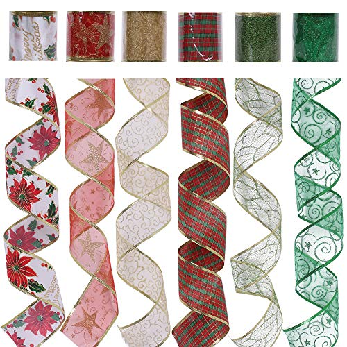 Christmas Wired Ribbon, Assorted Plaid Sparkling Decorations Wired Sheer Glitter Tulle Ribbon 36 Yards (2.5' Wide x 6Yard Each) - Floral Poinsettia Plaid Gold