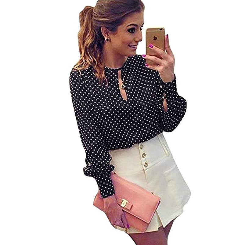 RRG2G Women Tops Clearance sale!Toosvan Women Casual Long Sleeve Blouses Summer Chiffon Polka Dots Shirt Tops ijxecygt522135
