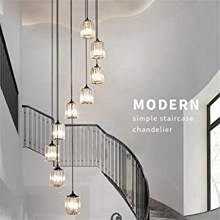 Staircase Chandeliers, K9 Crystal Multi Lights Spiral Stairs Long Chandelier Modern Pendant Lights Living Room Pendant Lig...