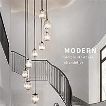 Staircase Chandeliers, K9 Crystal Multi Lights Spiral Stairs Long Chandelier Modern Pendant Lights Living Room Pendant Lig...