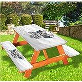 LEWIS FRANKLIN - Cortina de ducha para gatos de lujo, cubierta de mesa de picnic, felino con auriculares con borde elástico, 28 x 72 pulgadas, juego de 3 piezas para mesa plegable