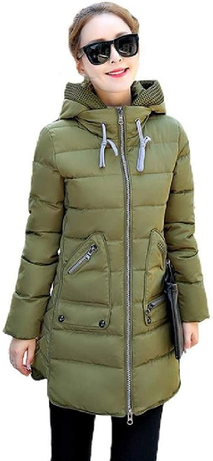 TaoNice Women Thickened Big Pockets Over Sized MidLong Hood Pea Coat Jacket