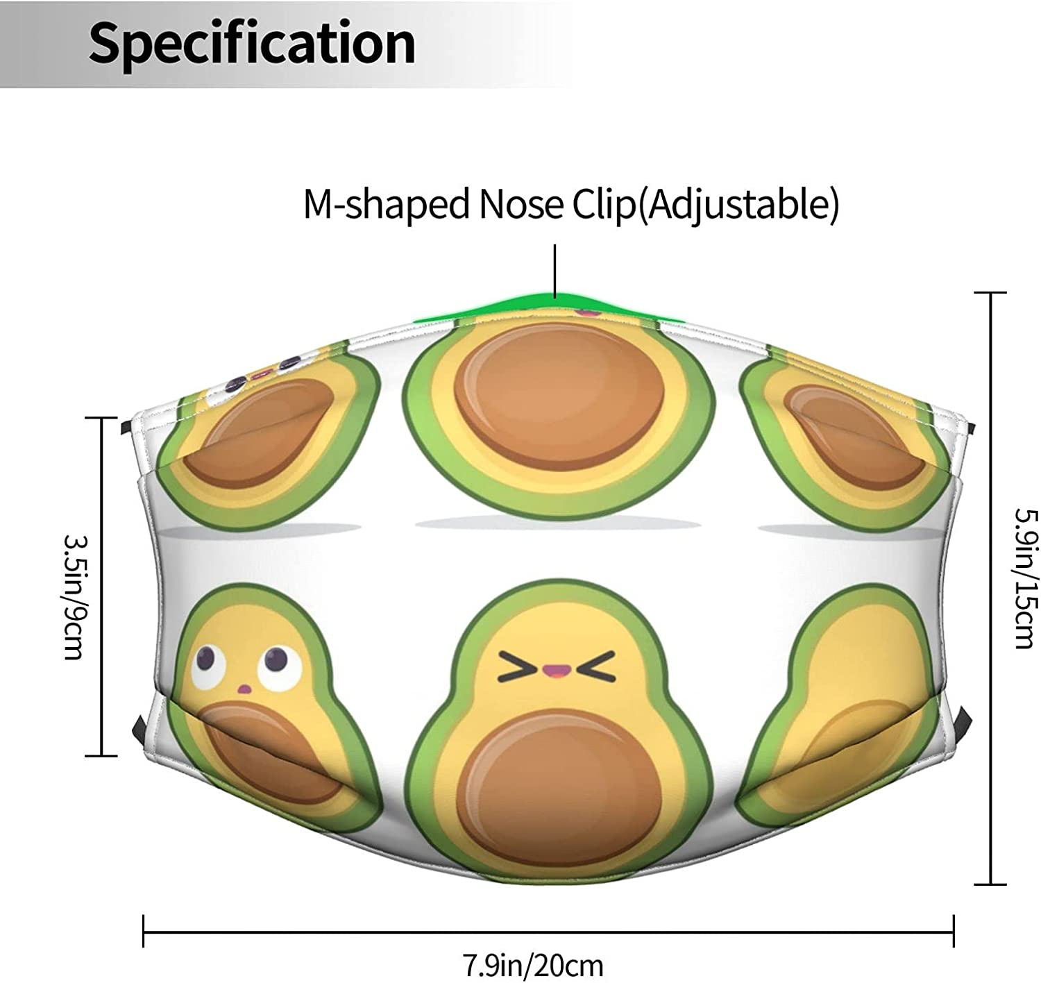 Funny Cartoon Avocado Characters Pattern Adjustable Reusable Face Masks with Filter Pocket,Windproof Dust-Proof Washable Face Bandanas Balaclava Masks with Shield for Adults Kids Women Men