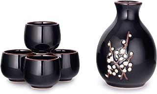 Hinomaru Collection Kagetsu Sake-Set, japanisches glasiertes Porzellan, für Sake-Ochoko-Becher, 0,9 ml Flasche, 0,8 ml 9.5 fl oz Tenmoku Schwarz