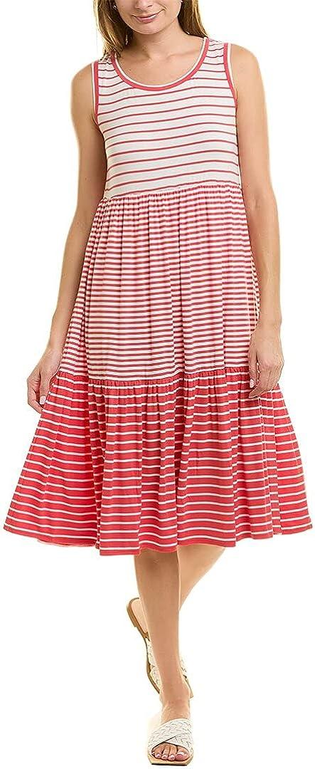 Max Studio Stripe Jersey Midi Dress