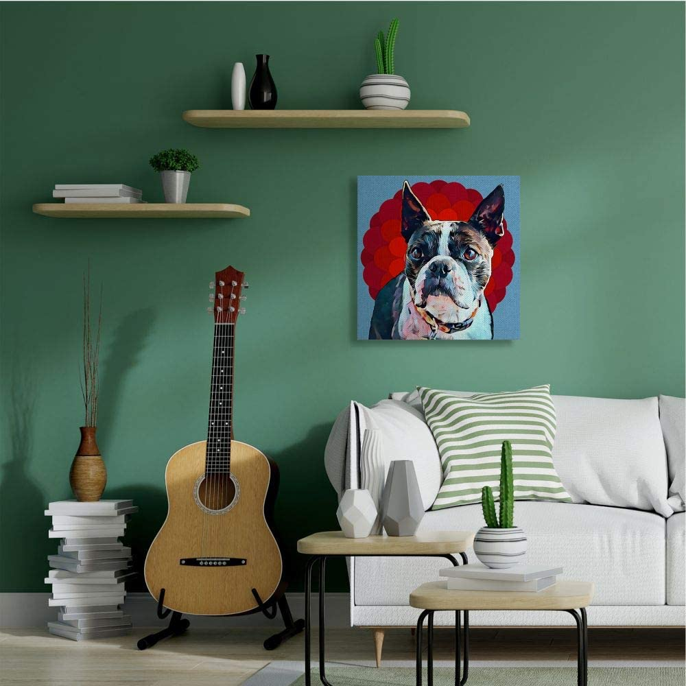 30 x 30 Blue Stupell Industries Boston Terrier Dog Portrait Over Geometric Curved Pattern Wall Art