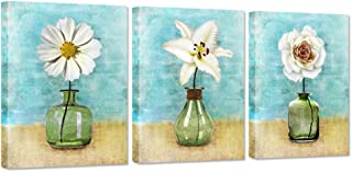 ZingArts 3 Pieces Canvas Wall Art Vintage Flower White Lily Daisy Flower Vase Picture Teal Background Contemporary Floral Artwork Stretched and Framed for Home Bathroom Decor Ready to Hang
