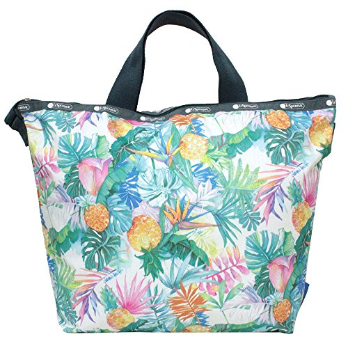 LeSportsac Lauren Roth Uluwehi HAWAII EXCLUSIVE Easy Carry Tote Crossbody + Top Handle Handbag, Style 2431/Color K605, Vibrant Tropical Flowers & Pineapples, Lauren Roth Signature Printed on Pattern
