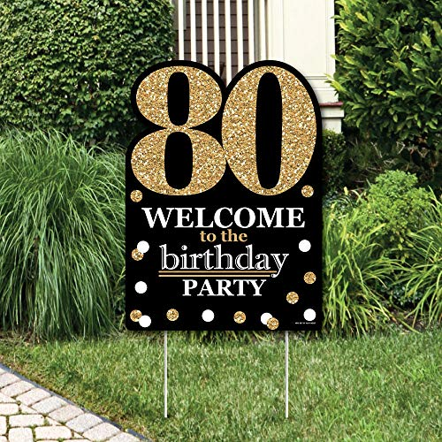 Big Dot of Happiness Adult 80th Birthday - Gold - Party Decorations - Birthday Party Welcome Yard Sign