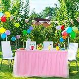PiccoCasa - Falda de mesa de tul rosa para mesas rectangulares de 1,8 m, para fiesta de cumpleaños, boda, decoración de mesa mullida de 76 x 182 cm