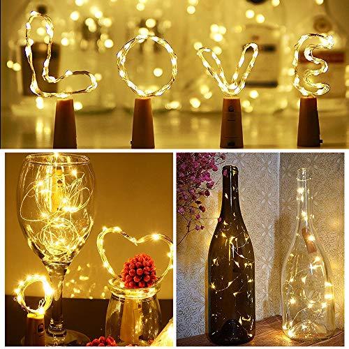 Preisvergleich Produktbild Sooair Flaschen Lichterkette,  8pcs Flaschen Licht 2m 20 LED Flaschenlichtwhite Bottle Light LED Lichterkette mit Korken DIY LED Flaschenlicht for Halloween,  Chrismas,  Wedding(Warm White)