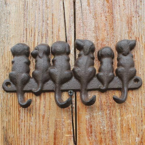 LRW Seis Perros Figura diseño Europeo Gancho de Hierro Forjado Gancho en Relieve Ornamento de la Pared